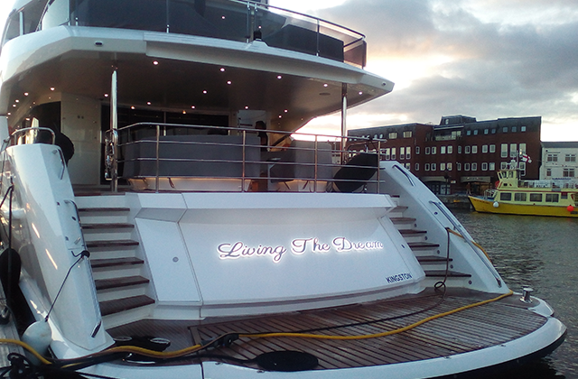 Living The Dream Yacht Sign
