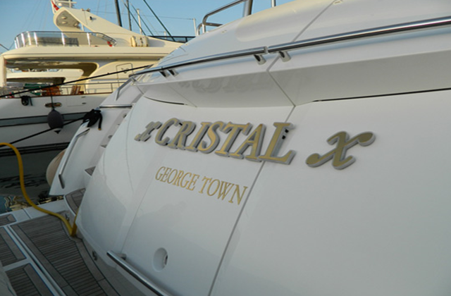 Cristal illuminated yacht sign