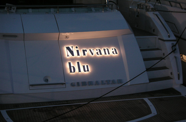 Nirvana Blu illuminated yacht sign
