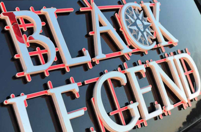 Black Legend Yacht Sign